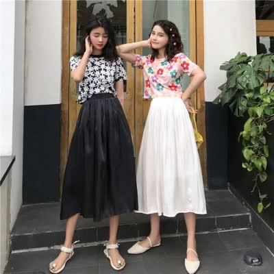货号8055#,实拍实价 韩版chic百搭宽松高腰A字中长半身裙夏,颜色:黑色、米白色