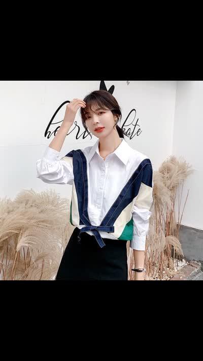 货号8285#,实拍  2020春季新款雪纺衫百搭长袖宽松拼接上衣衬衫女