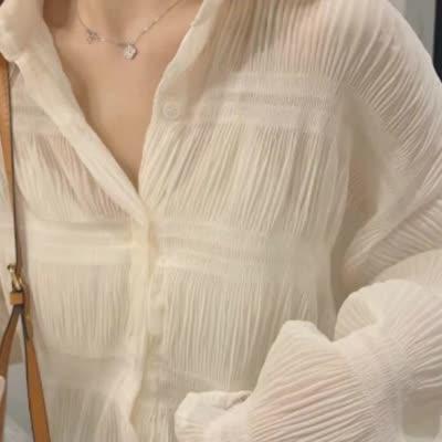 2019小狍 很仙的减龄雪纺长袖衬衫女 洋气打底内搭小衫女上衣秋