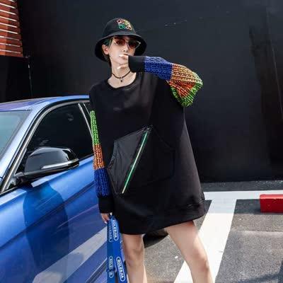 伊可人冬季19印花个性欧美潮流时尚圆领宽松气质新款女生卫衣E595