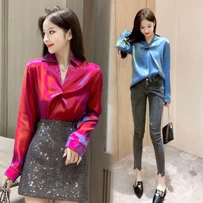 2020春装新款时尚人鱼性感V领百搭修身显廋简约长袖衬衫