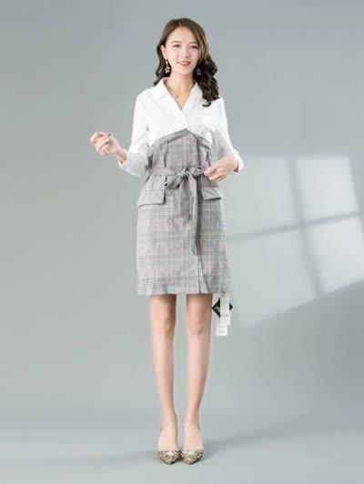 2020春装新款女装【朝花夕拾】淑女气质V领高腰显瘦绑带假两件洗水棉连衣裙