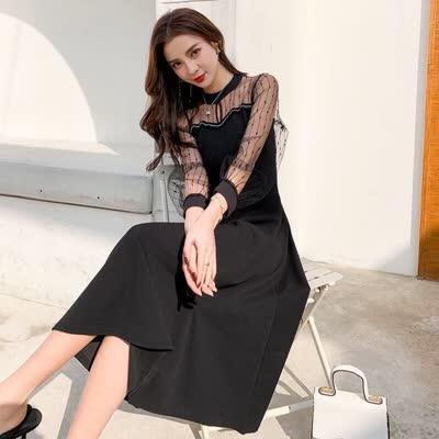 实拍2020春季新款女装赫本小黑裙拼接网纱收腰显瘦时尚连衣裙