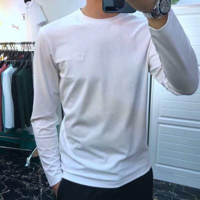 早春新款糕品质蝴蝶刺绣男圆领长袖打底衫修身显瘦舒适长袖T恤