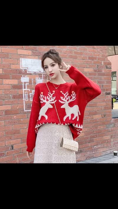 货号6513#,实拍麋鹿圣诞红毛衣女冬宽松外穿2019新款复古港味针织慵懒上衣