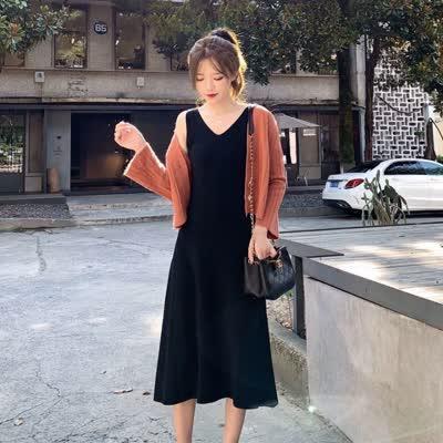 货号81941#,2020年春季开衫+背心裙套装