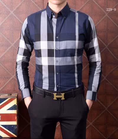 高品质衬衣 时尚新款休闲男士丝光棉纯棉格子拼接色格子短袖衬衫