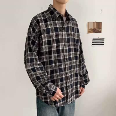 5020新款休闲港风春夏新款衬衫男长袖潮流韩版帅气格子衬衣外套ins小清新