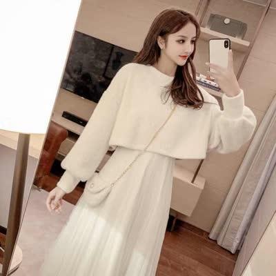 货号9036#,实拍#秋冬新款两件套中长款仙女裙毛衣+百褶裙A字裙套装 ¥108,尺码:S、M、L、