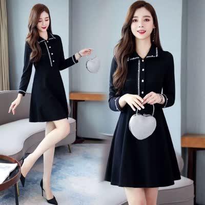 实拍2020春季新款韩版大码女装宽松显瘦打底长款连衣裙