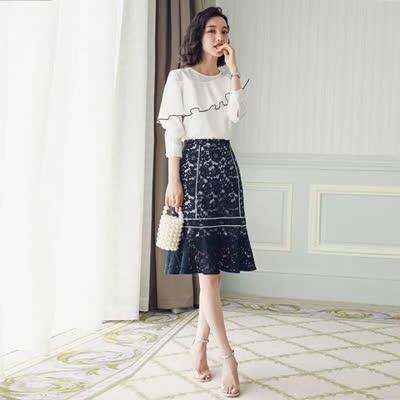 2020春装新款荷叶边衬+蕾丝鱼尾半身裙 套装 SML