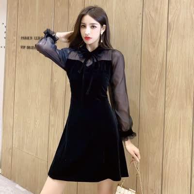 2020春装新款娃娃领蕾丝喇叭袖a字长袖连衣裙小黑裙