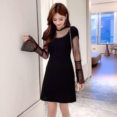 春装新款性感透视收腰显瘦长袖短裙网纱拼接打底连衣裙