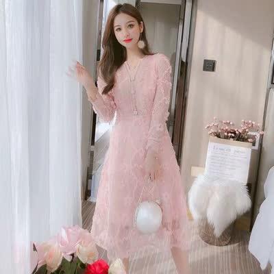2020新款春季中长款打底裙网红韩版时尚潮流洋气百搭仙女蕾丝裙