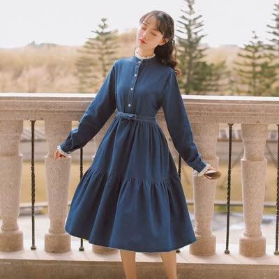 實拍現貨 文藝復古溫柔牛仔拼花邊連衣裙