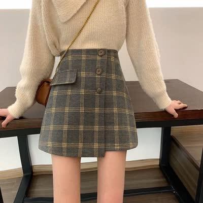 货号63567#,实拍 韩版高腰格子撞色半身裙女秋冬短裙显瘦百搭a字裙包臀裙