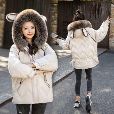 JRMB168 、棉衣/棉服时尚连帽耳朵大毛领保暖中长款长袖短羽绒棉衣大衣外套   ¥215
