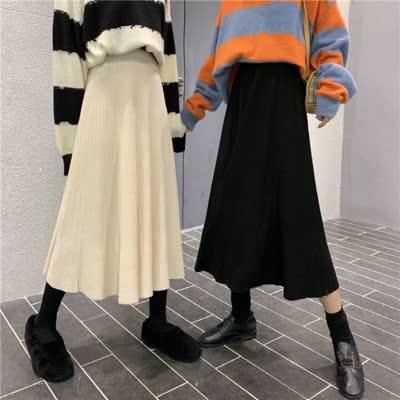 货号62223#,实拍实价 秋冬韩版针织半身裙中长款女A字百褶百搭毛线裙子