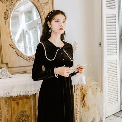 早春 小黑裙高冷御姐风女神范黑色金丝绒连衣裙