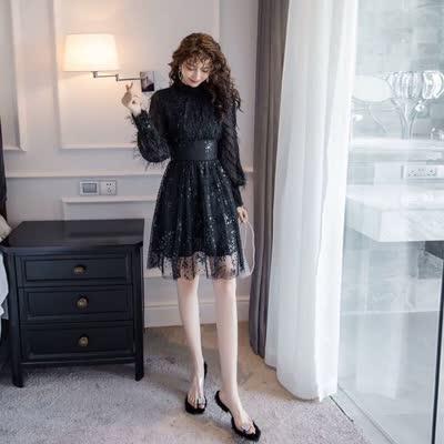 实拍2020早春新款女装名媛气质流苏拼接网纱亮片仙女裙子