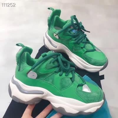 2020年春款牛皮透明吸膜底老爹鞋!三色:黑-绿-杏 货
