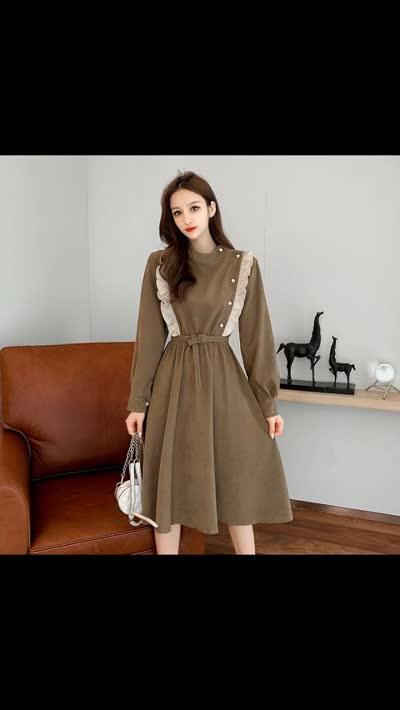 632#秋冬装2019年新款法式复古修身收腰显瘦长袖裙子圆领气质连衣裙女