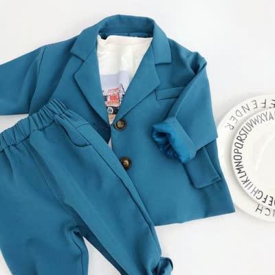 儿童套装2020眯眯眼春季款男童韩版西装套装宝宝纯色两件套潮