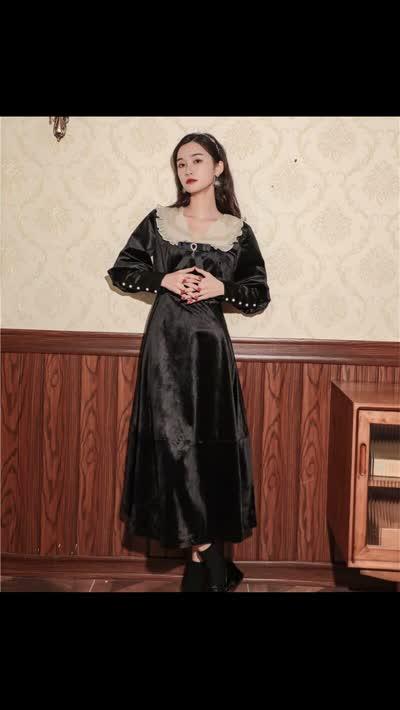 【XDI服饰】丝绒黑色 古董感!复古拼接连衣裙