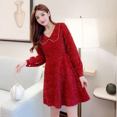 实拍2020春装新款女神范新年红色亮丝长袖连衣裙打底裙