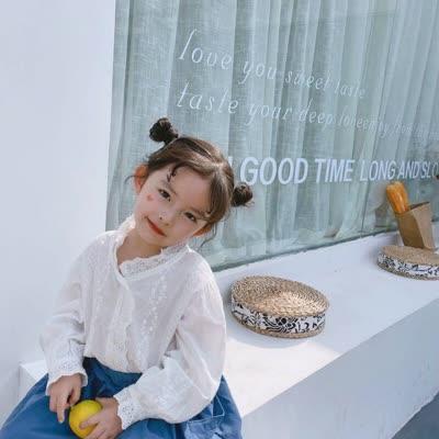 2020春季新款韓版女童花朵蕾絲長袖襯衫全棉高品質襯衫T恤打底衫
