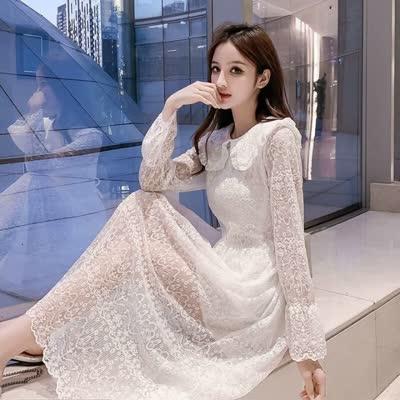 2020春装新款流行裙子女娃娃领网红长袖蕾丝裙