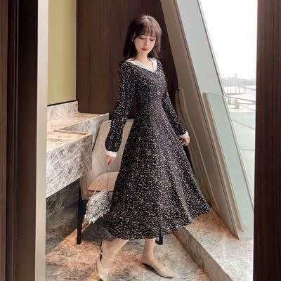 早春新款很仙的桔梗裙女蕾丝拼接系带收腰连衣裙