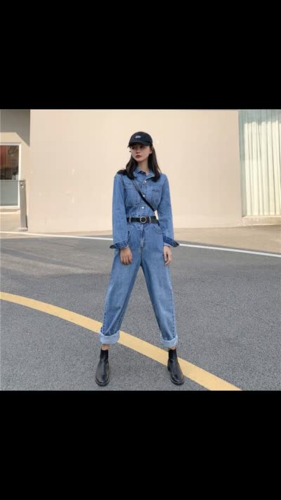 货号63955#,实拍视频 牛仔连体裤小个子宽松显瘦泫雅裤高腰直筒工装裤女