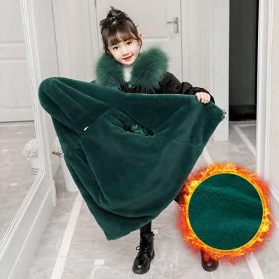 儿童可拆加绒派克服外套超洋气童装女童冬装新款2019中大衣羽绒服   ¥135