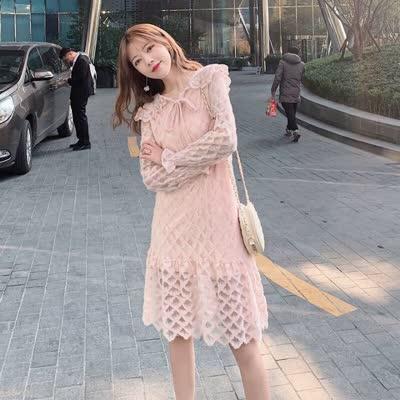 实拍~2020春装新款女装纯色镂空蕾丝法式桔梗裙子长袖连衣裙