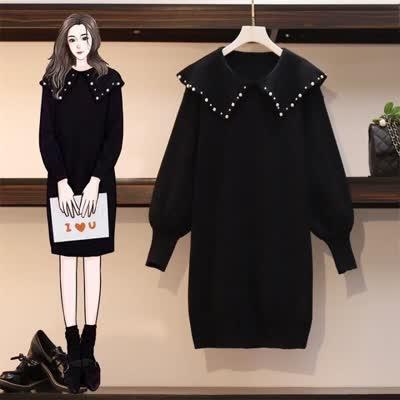 实拍大码女装2019微胖mm显瘦减龄裙子微胖女孩穿搭遮肉针织连衣裙