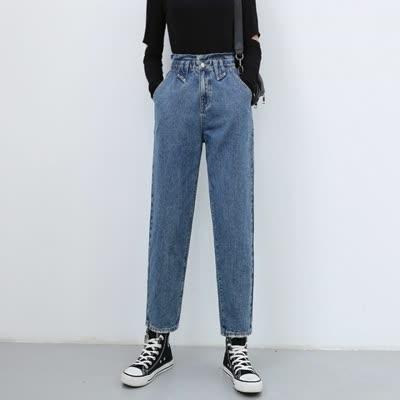 高腰女装牛仔裤春季新款女士裤子花苞腰松紧九分裤子