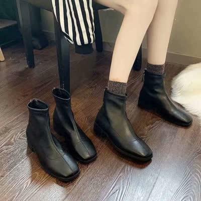 现货!韩版简约百搭方头短靴裸靴及踝靴加绒鞋【货号】1961【品牌】薇慕倾情【颜色】