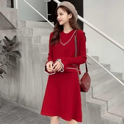 货号390#,实拍#马甲连衣裙两件套中长款红色毛衣针织长袖裙子小个子打底裙,¥85,尺码