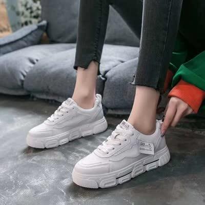 货号2020#,厚底小白鞋韩版百搭休闲女春季新款ins运动厚底学生跑步板鞋,颜色:白色、绿色