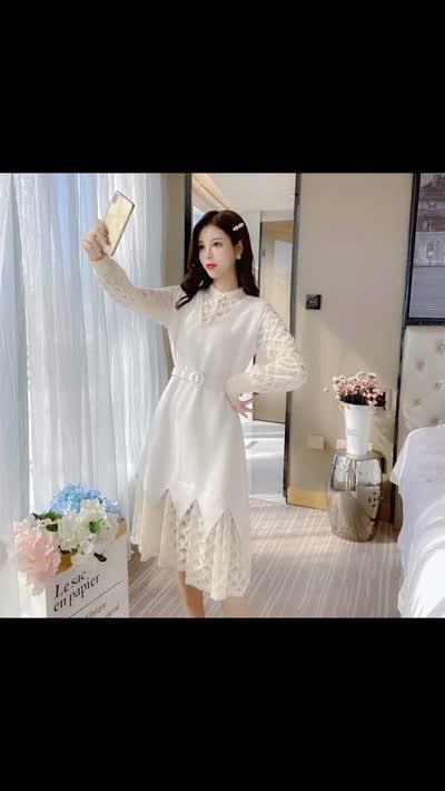 实拍冬2019新款淑女范气质假两件蕾丝拼接连衣裙中长款收腰裙