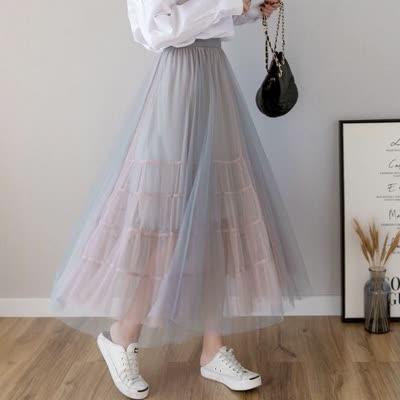 货号6659#,实拍 2020年春季撞色纱裙多层蓬蓬蛋糕裙中长款仙女裙半身裙,颜色:黑粉、蓝粉