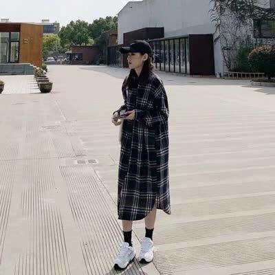 欧洲站女装韩版英伦格子2020春装纯棉绒宽松大码翻