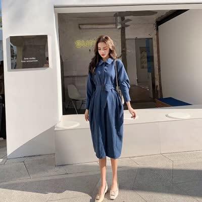 2020春装新款女装高冷系气质女神范衣服收腰显瘦连衣裙气质衬衫裙