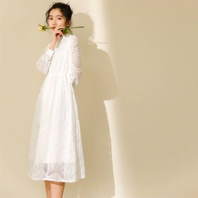 高端原版2020实拍春季新款白色仙女蕾丝连衣裙