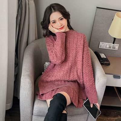 货号实拍8082#,2019秋冬新款韩版麻花套头毛衣+半身短裙两件套宽松慵懒风套装女,颜色: