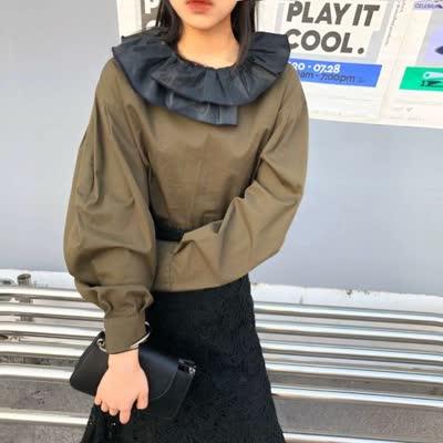 【U.DA优搭】时尚特色娃娃领宽松衬衫  Y70027#