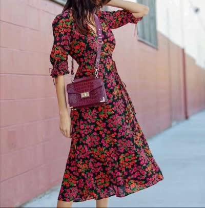 艾丽丝春季新款真丝印花连衣裙