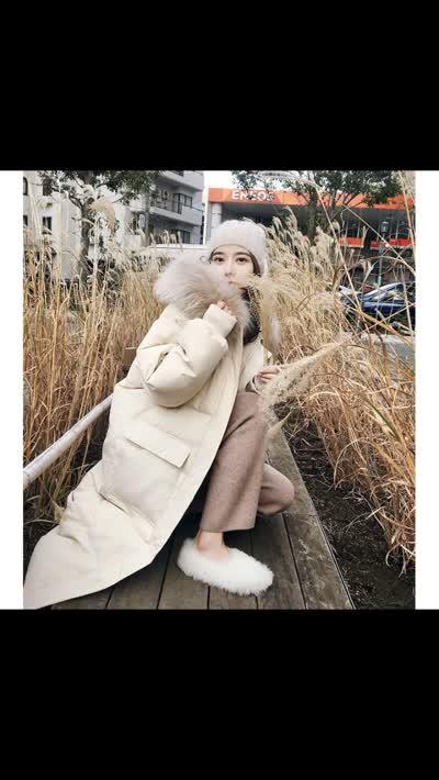 2019羽绒服女大毛领设计感女小众韩版流行棉服女,颜色