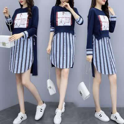 货号62601#,春装流行裙子2020年新款女装潮春秋高端气质网红卫衣连衣裙